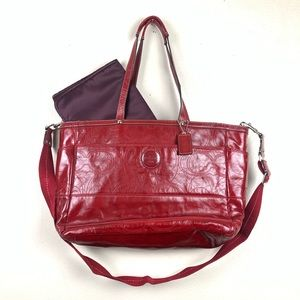 Coach Signature CC Patent Leather Diaper Bag Tote